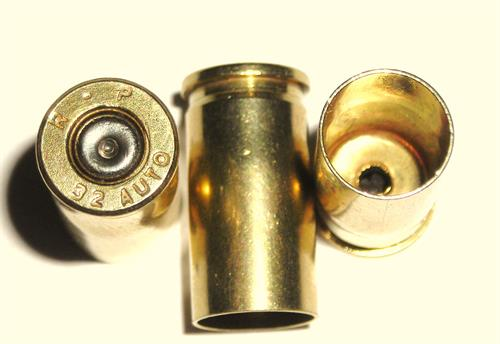 32 Auto Remington once fired brass reloading cartridge cases